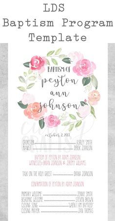 Examples Of Lds Baptismal Invitations Baptism Invitations, Party Invitations, Invitation Templates, Lds Baptism Program, Lds Baptism Ideas, Mormon Baptism, Baptism Photos, Baptism Party, Girl Baptism