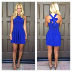 Royal Blue Cross Bow Dress