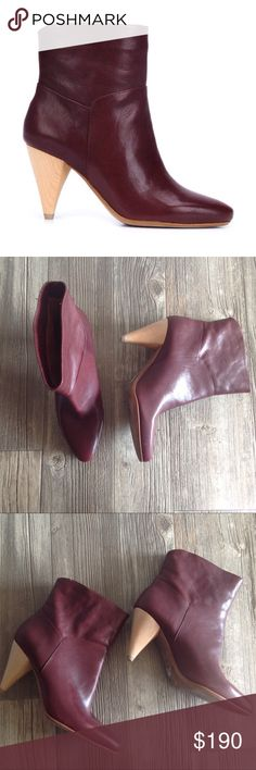 Derek Lam 10 Crosby Dannie Cone Heel Ankle Boots - maroon leather - wooden cone heel - sticker residue and marker from department store on the bottom of one of the boots - never worn outside department store 10 Crosby Derek Lam Shoes Ankle Boots & Booties