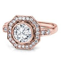 R3045 - Vintage Inspired Octogon Halo  Engagement Setting in 18K Rose Gold
