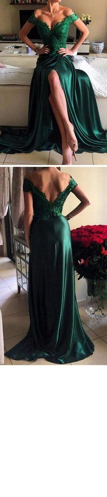 Off Shoulder Green Lace Satin Front Slit Sexy Long Prom Dresses, PD023 – SofieBridal