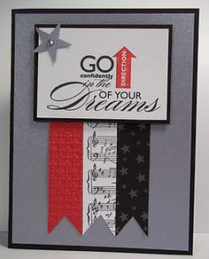 great sentiment as focal point . gray card with red, white and black . stars, sheet music, fish tail banners, and an upward pointing arrow . Stampin' Up! Graduation Cards Handmade, Graduation Ideas, College Graduation, Scrapbook Cards, Scrapbooking, Scrapbook Albums, Graduation Invitations, Congratulations Card, Card Kit