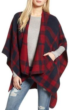 cb9179f22b822b Buffalo Plaid Cape with pocket. Right on trend for fall and winter women s  fashion.