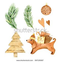Watercolor dog cute illustration on white background. Chinese calendar, zodiac. Symbol of 2018 New Year. Christmas tree, spruce, heart.