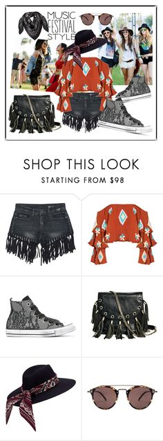 """""""Music festival style"""" by pesanjsp ❤ liked on Polyvore featuring Sans Souci, Mochi, Converse, GUESS by Marciano, Oliver Peoples, MCM, men's fashion and menswear"""