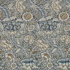Wandle by Morris - Blue / Stone : Wallpaper Direct