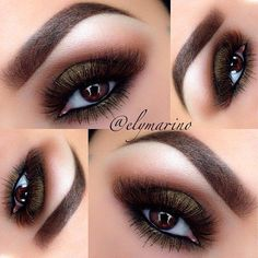 Smoldering Brown with a hint of Green and Gold Eyeshadows.