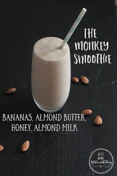 Happy first day of Summer! This Monkey Smoothie Recipe is Bananas, Almond Butter, Almond Milk, and Honey all blended up for a divine treat!