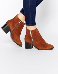 New Look | New Look Real Suede Side Zip Boots at ASOS