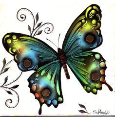 Azulejo pintado por Silvana Araújo - borbolela, ouro e lustre