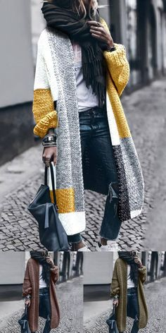 Long Cardigan, Sweater Cardigan, Long Sweater Outfits, Women's Cardigans, Mode Outfits, Long Sweaters, Look Fashion, Latest Fashion, Vestidos