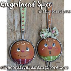 Gingerbread Spice Strainers ePattern - Mila Marchetti - PDF DOWNLOAD #decorativepaintingstore #decoartprojects #gingerbread #gingerbreadstrainer #paintedstrainer #strainerpattern