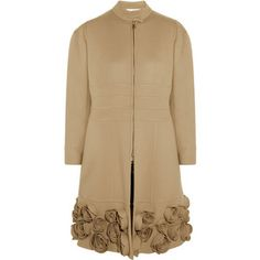 Valentino Floral-appliquéd wool and cashmere-blend coat
