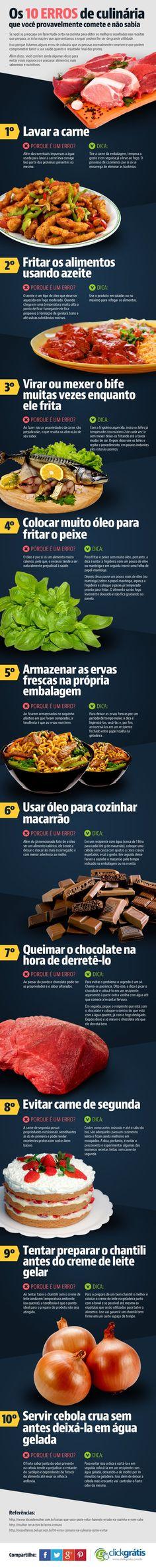 Conheça o infográfico sobre Veja os 10 erros de culinária que você provavelmente comete e não sabia
