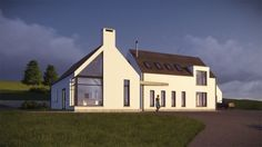 The proposed house is a modern representation of the traditional Irish vernacular form. House Plans Uk, Square House Plans, Metal House Plans, Pool House Plans, Luz Natural, Building Design, Building A House, Church Building, House Designs Ireland