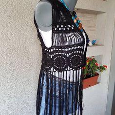 Check out this item in my Etsy shop https://www.etsy.com/listing/515243550/black-fringe-vest-hippie-crochet-vest