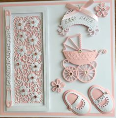 Baby Card by Sospecial Cards. Sue Wilson Panel and Marianne Dies