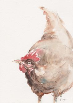 Chicken, original watercolor painting, animal art, watercolor painting art.