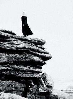 Iris Van Berne photographed by Tom Allen for Harper's Bazaar UK September 2013. #bw #rocks #portrait #woman #girl #black #dress