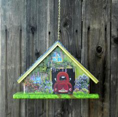 Handmade Green A Frame Birdhouse Handpainted with