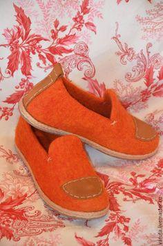 Купить Мокасины валяные женские Апельсин - рыжий, бергшаф, подошва для обуви, туфли ручной работы