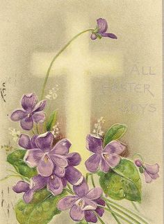 Spring Violet Bouquet  White Cross Embossed Vintage Easter Postcard Davidson Bros 1909 Philadelphia and Nicetown Station Flag Cancelsc1909  ......lb xxx