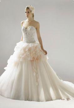 Strapless Appliqued Tiered A-Line Train Bridal Wedding Dress
