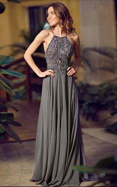 Halter A Line Grey Floor Length Chiffon Prom Dress Backless