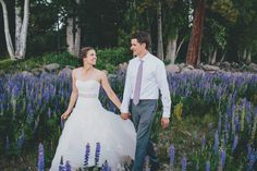 Bride and groom surrounded by lupine. Lake Tahoe wedding from @sunandlifephoto.