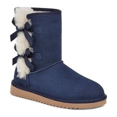 Give your laidback look some feminine flair with these women's Victoria Short boots from Koolaburra by UGG.Watch the video to find out how to perfectly fit your boots.Keep your Koolaburra by UGG boots clean with their care kit. BOOT FEATURES Bow details Treaded sole BOOT CONSTRUCTION Suede upper Shearling, faux-fur lining EVA midsole & outsole BOOT DETAILS Round toe Pull on Padded footbed 1-in. wedge 9-in. shaft 13.75-in. circumference  Color: Brt Blue. Gender: female. Age Group: kids. Winter Boots Clearance, Ugg Winter Boots, Timberland Boots For Sale, Ugg Boots Sale, Fuzzy Boots, Fur Lined Boots, Women's Boots, Cute Uggs, Vegan Boots