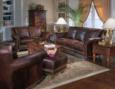 I love leather furniture...someday.   dark leather furniture, couch, love seat, chair, ottamom