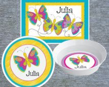 Kids Melamine Plate Placemat and Bowl Personalized Butterfly Dish Set Melamine Kids Dinnerware  sc 1 st  Pinterest & Astronaut Plate and Bowl Set - Personalized Melamine Children Plate ...