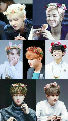 BTS with flower crowns Bts Taehyung, Bts Bangtan Boy, Bts Jungkook, Bts Group Picture, Bts Group Photos, Foto Bts, K Pop, Ivana, Bts Beautiful