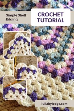 Learn how to add a pretty scalloped edging to your granny square blankets. Free tutorial by Lullaby Lodge... Crochet Border Patterns, Crochet Blanket Border, Crochet Edgings, Afghan Patterns, Crochet Granny, Knit Patterns, Free Crochet, Crochet Stitches For Beginners, Crochet Tutorials