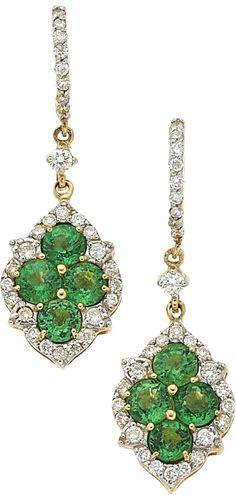Tsavorite Garnet, Diamond, Gold Earrings, Piranesi ~ The earrings feature round-cut tsavorite garnets weighing a total of 2.60 carats, enhanced by full-cut diamonds weighing a total of 0.64 carat, set in 18k gold, marked Piranesi. (est.val.: 3000.)