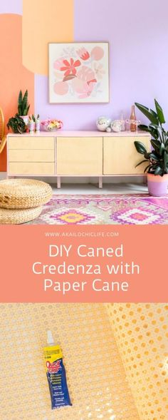 Give your credenza or storage unit an easy caned makeover with inexpensive paper cane! This DIY Caned Credenza with Paper Cane can be made in one afternoon! Diy Interior, Do It Yourself Upcycling, Clay Crafts For Kids, Diy Crafts, Diy Furniture Tutorials, Furniture Ideas, Diy Confetti, Painted Mugs, Diy Coasters