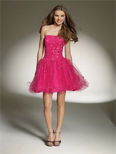 Strapless Beaded Short Tulle with 3 dimensional flowers Lace up Homecoming Dress HD1049 www.homecomingstore.com $127.0000