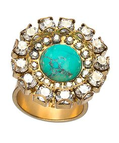 Liz Palacios Double Row Crystal Turquoise Cabochon Ring