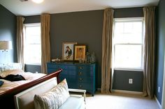 love this teal chest of drawers, and the wall color, and the curtains, and the bench.  Sheesh.  Just love it.  Not for me.  But for someone.