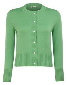 Adela Green Long Sleeve Knit Cotton Cashmere Cardigan £325.00