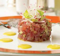"""""""A Table at Le Cirque"""" by Siro Maccioni and Pamela Fiori photo by: Ben Fink Dish: Curried Tuna Tartare Chef: Sottha Khunn Fish Recipes, Seafood Recipes, Cooking Recipes, Healthy Recipes, Salad Recipes, Tuna Tartare Recipe, Sushi, Paleo Dinner, Healthy Eating"""