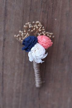 Blue Wedding Flowers - This listing is a navy blue and coral boutonniere with tan babies' breath wrapped in twine. The mini flowers measures between and 1 You may also get the boutonnière with ivory filler instead. Coral Navy Weddings, Coral Wedding Flowers, Tan Wedding, Wedding Bridesmaids, Wedding Colors, Wedding Bouquets, Dream Wedding, Trendy Wedding, Coral Dress Wedding