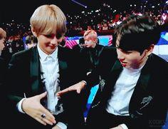 Kookie and Tae's cute lil' handshake!