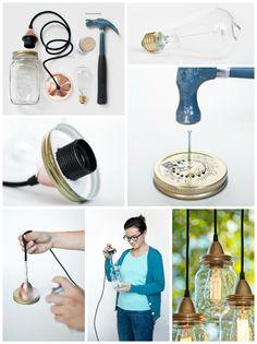 Una #idea para #aprovechar los #tarros de #cristal de las conservas y conseguir unas #lámparas para #decorar cualquier rincón de la casa! #DIY