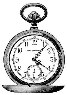 Vintage Clip Art - Marvelous Pocket Watch - Steampunk - The Graphics Fairy