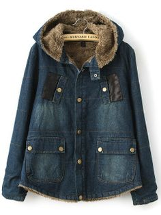 Navy Hooded Long Sleeve Pockets Denim Coat US$47.62