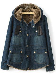 Navy Hooded Long Sleeve Pockets Denim Coat US$47.62