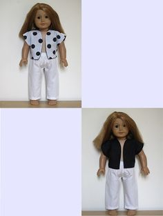 "18"" American Girl Doll clothes sewing patterns to download - FREE PATTERN: reversible vest & matching pants"