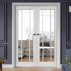Worcester White Primed French Door Pair - Clear Glass - November 05 2019 at Internal Folding Doors, Internal Double Doors, Glass Panel Internal Doors, Internal French Doors White, Grey Doors, Oak Doors, Double Doors Interior, Interior Doors, Interior Paint