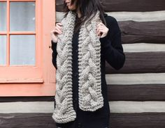 Cabled Knit Chunky Scarf Pattern 2